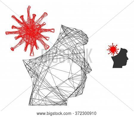 Web Carcass Coronavirus Mad Man Vector Icon. Flat 2d Carcass Created From Coronavirus Mad Man Pictog