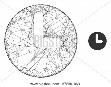Web Network Time Vector Icon. Flat 2d Carcass Created From Time Pictogram. Abstract Carcass Mesh Pol