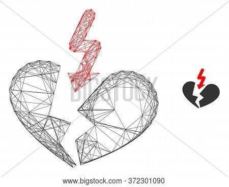 Web Mesh Breakup Heart Vector Icon. Flat 2d Carcass Created From Breakup Heart Pictogram. Abstract C