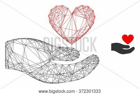 Web Carcass Palm Offer Love Heart Vector Icon. Flat 2d Carcass Created From Palm Offer Love Heart Pi
