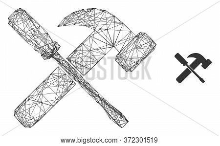 Web Carcass Hammer And Screwdriver Vector Icon. Flat 2d Carcass Created From Hammer And Screwdriver
