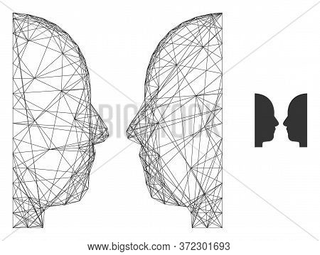 Web Carcass Dual Face Vector Icon. Flat 2d Model Created From Dual Face Pictogram. Abstract Frame Me