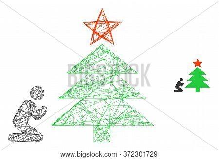 Web Mesh Pray To Christmas Tree Vector Icon. Flat 2d Carcass Created From Pray To Christmas Tree Pic