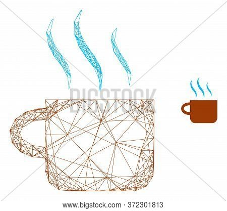 Web Net Hot Tea Cup Vector Icon. Flat 2d Carcass Created From Hot Tea Cup Pictogram. Abstract Carcas