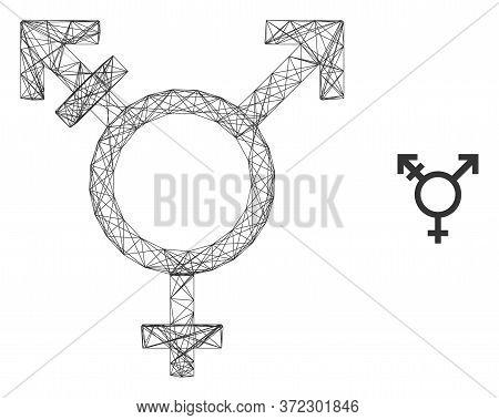 Web Carcass Three Gender Symbol Vector Icon. Flat 2d Carcass Created From Three Gender Symbol Pictog