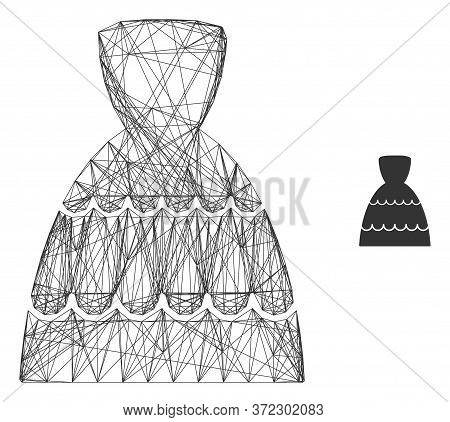 Web Mesh Bride Dress Vector Icon. Flat 2d Carcass Created From Bride Dress Pictogram. Abstract Frame