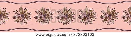 Doodle Flower Heads Pink Vector Border Print. Decorative Surface Print Design For Embellishing Cards