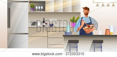 Vector Kitchen Interior Design With Cooking Male Character. Indoor Concept With Table, Fridge, Shelv