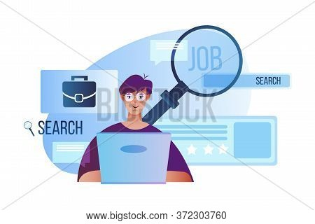 Search Job Concept With Young Female Candidate, Laptop, Magnifier, Briefcase, Abstract Profile Windo