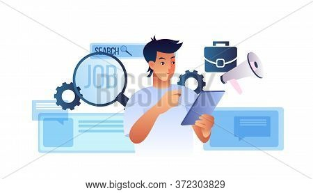 Search Job Concept With Young Male Candidate, Flipchart, Magnifier, Megaphone, Briefcase, Abstract P