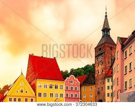 View On Old City Street With Traditional Architecture Of Landsberg Am Lech, Bavaria, Germany, Europe