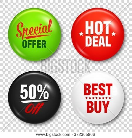 Realistic Badges With Text. Product Promotion, Sale. Special Offer. Glossy Round Button. Pin Badge M