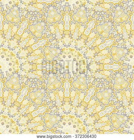 Kaleidoscope Floral Seamless Ornament. Arabic Folk Vector Graphic Design. Weave Retro Chakra Flower