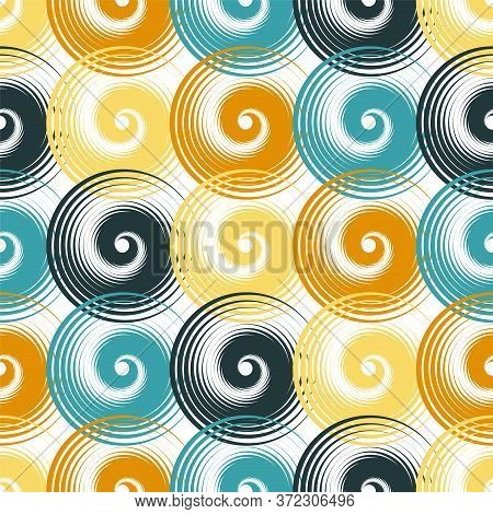 Spiral Swirls Decorative Seamless Pattern Vector Design. Round Spiral Scrolls, Circle Swirls Geometr