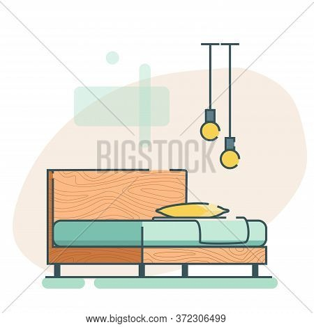 Furniture Icon In Loft Style. Wooden Loft Bed With A Plaid And Pillow. Flat Bed Icon. Vector Illustr