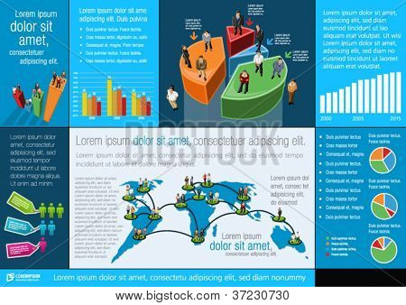 Blue template for advertising brochure with people, charts and elements of info graphics