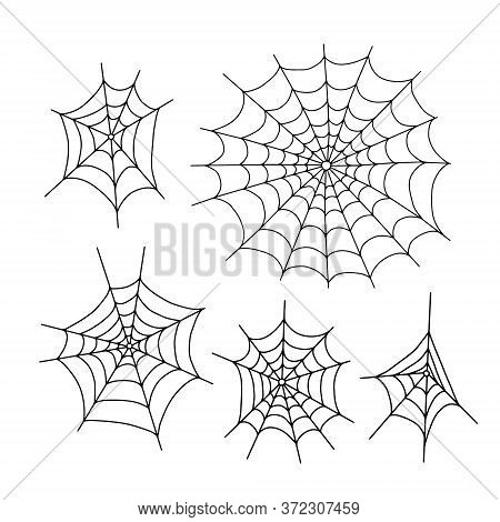 Vector Outline Illustration Of  Simple Fancy Halloween Spider Webs Set, Isolated Object On The White