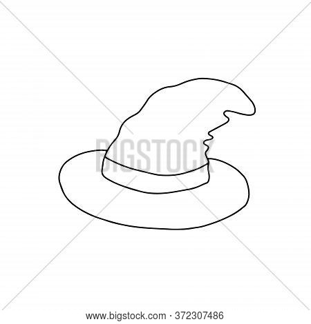 A Cute Fancy Hat Of A Witch Set Vector Outline Illustration Isolated Object On The White Background,