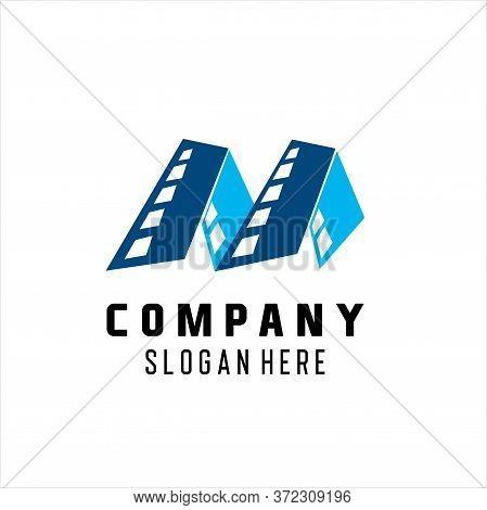 Letter M Creative Movie Logo Vector. Cinema Logo Vector, Cinema Themed M Letter Logo Design Concept
