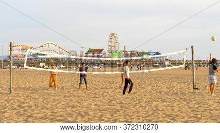 Having Fun At Santa Monica Beach - Los Angeles, United States Of America - March 29, 2019