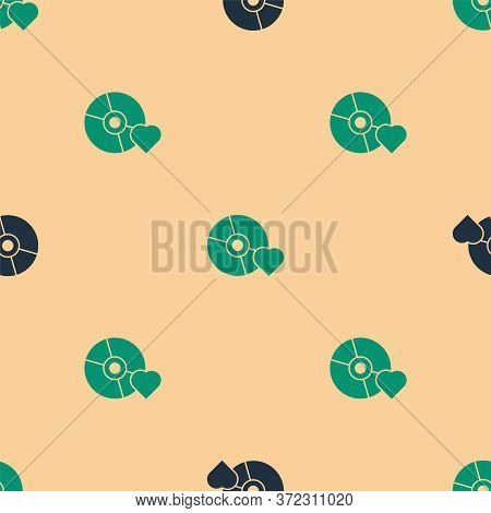 Green And Black Adult Label On Compact Disc Icon Isolated Seamless Pattern On Beige Background. Age