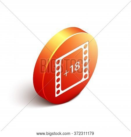 Isometric Play Video With Inscription 18 Plus Content Icon Isolated On White Background. Age Restric