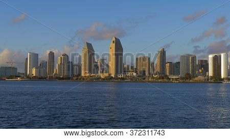 San Diego Skyline At Sunset - San Diego, Usa - March 18, 2019
