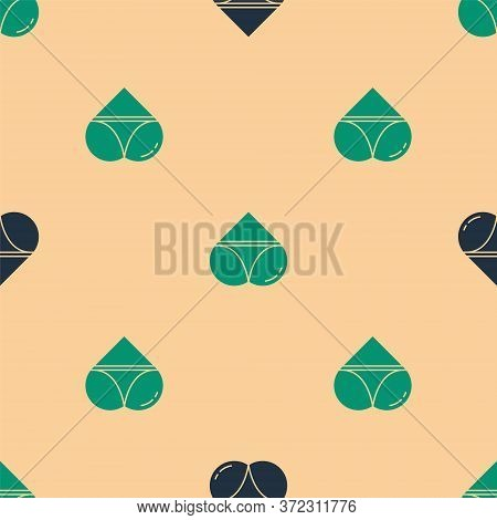 Green And Black Womens Booty In A Heart Shape With Panties On It Icon Isolated Seamless Pattern On B