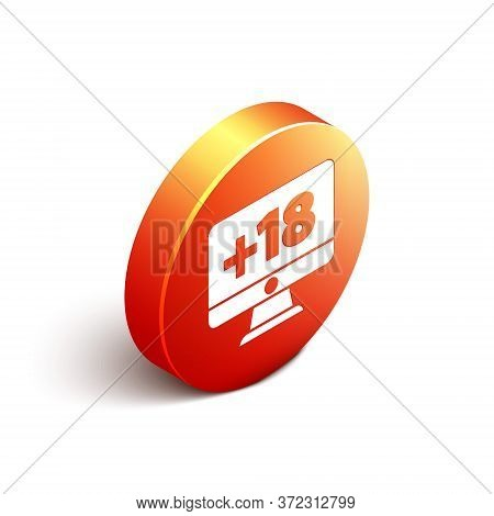 Isometric Computer Monitor With 18 Plus Content Icon Isolated On White Background. Age Restriction S