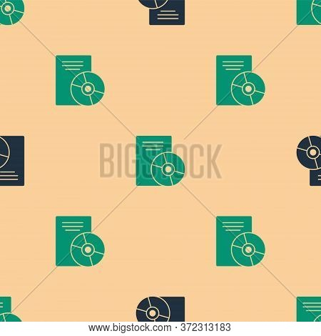 Green And Black Cd Or Dvd Disk Icon Isolated Seamless Pattern On Beige Background. Compact Disc Sign