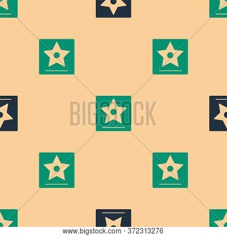 Green And Black Hollywood Walk Of Fame Star On Celebrity Boulevard Icon Isolated Seamless Pattern On