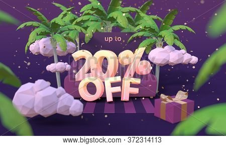 20 Twenty Percent Off 3d Illustration In Cartoon Style. Summer Clearance, Sale, Discount Concept.