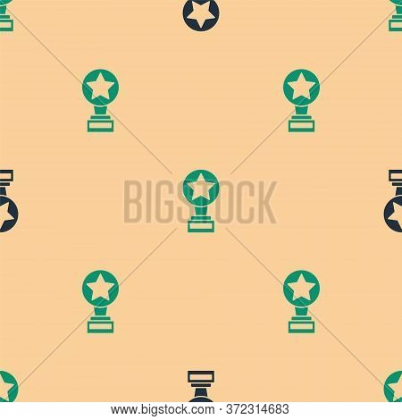 Green And Black Movie Trophy Icon Isolated Seamless Pattern On Beige Background. Academy Award Icon.