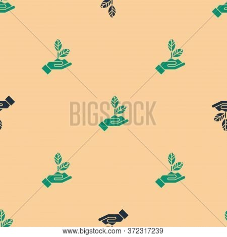 Green And Black Plant In Hand Of Environmental Protection Icon Isolated Seamless Pattern On Beige Ba