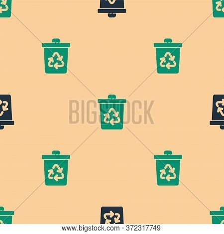Green And Black Recycle Bin With Recycle Symbol Icon Isolated Seamless Pattern On Beige Background.