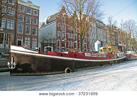 Amsterdam innercity in winter in the Netherlands