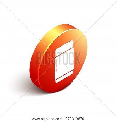 Isometric Eraser Or Rubber Icon Isolated On White Background. Orange Circle Button. Vector Illustrat