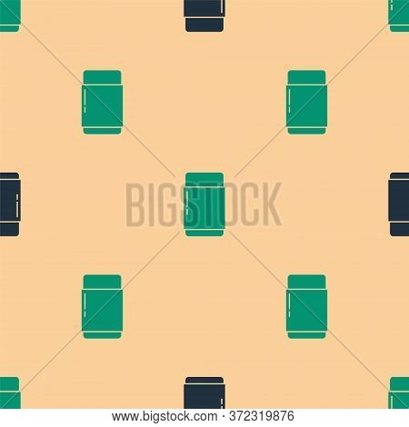 Green And Black Eraser Or Rubber Icon Isolated Seamless Pattern On Beige Background. Vector Illustra