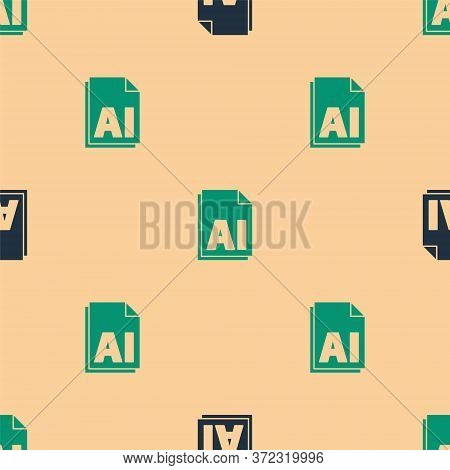 Green And Black Ai File Document. Download Ai Button Icon Isolated Seamless Pattern On Beige Backgro