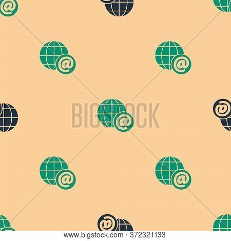 Green And Black Earth Globe With Mail And E-mail Icon Isolated Seamless Pattern On Beige Background.