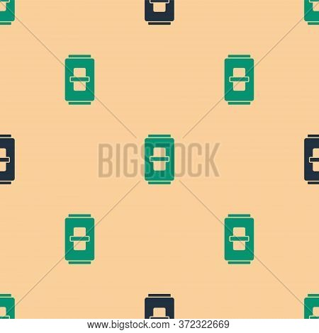 Green And Black Electric Light Switch Icon Isolated Seamless Pattern On Beige Background. On And Off