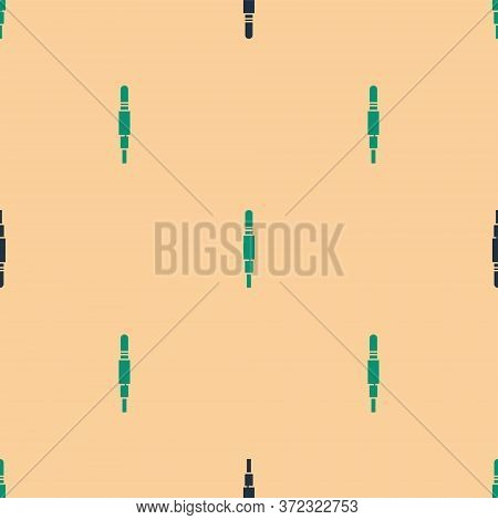 Green And Black Audio Jack Icon Isolated Seamless Pattern On Beige Background. Audio Cable For Conne