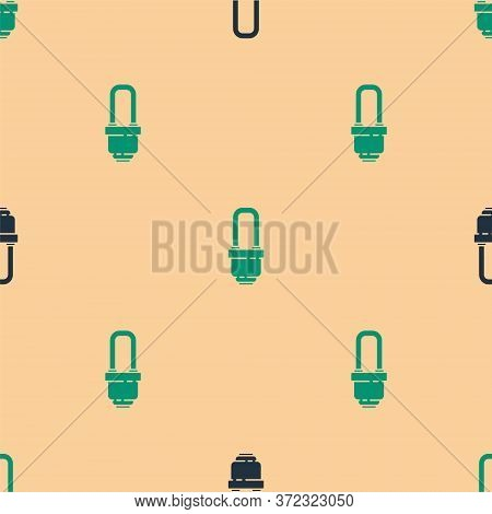 Green And Black Led Light Bulb Icon Isolated Seamless Pattern On Beige Background. Economical Led Il