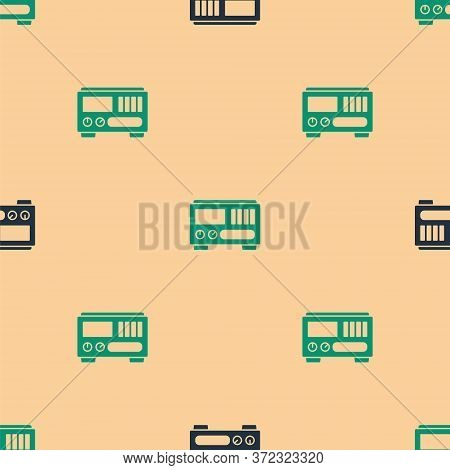 Green And Black Electrical Measuring Instruments Icon Isolated Seamless Pattern On Beige Background.