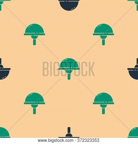 Green And Black Light Emitting Diode Icon Isolated Seamless Pattern On Beige Background. Semiconduct