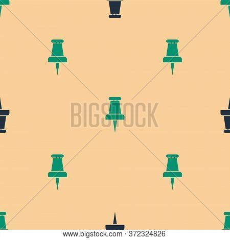 Green And Black Push Pin Icon Isolated Seamless Pattern On Beige Background. Thumbtacks Sign. Vector