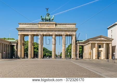 The Brandenburg Gate, One Of The Best-known Landmarks Of Germany, Viewed From The Pariser Platz On T