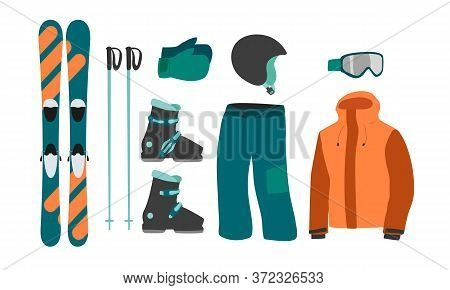 Ski Equipment Kit Clothes Vector Illustration. Extreme Winter Sport. Set Skis And Ski Poles. Vacatio
