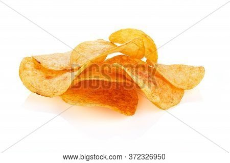 Classic Potato Chips. Fast Food Snack Isolated On White Background. A Pile Of Crispy Chips Close-up