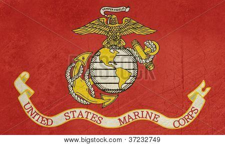 Grunge flag of the United States Marine Corps; isolated on white background.